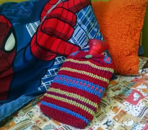 Spiderman loves his hot water bottle