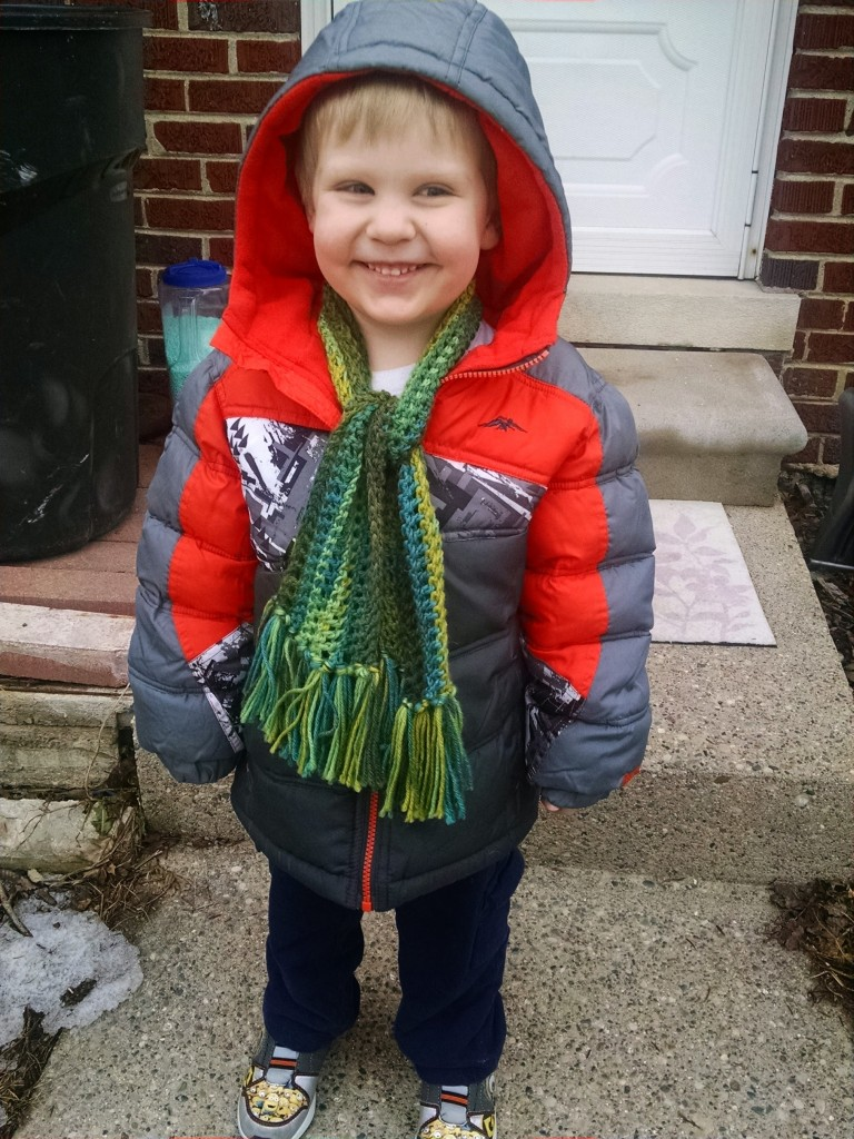 The Blue AND Green Scarf with yarn